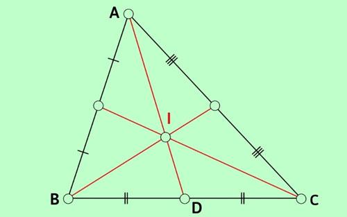 Tam giác ABC có trung tuyến AD = 9cm và trọng tâm I