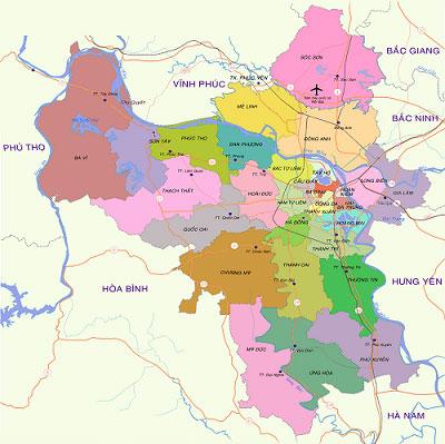 Bản đồ hành chính Hà Nội. Ảnh: Internet