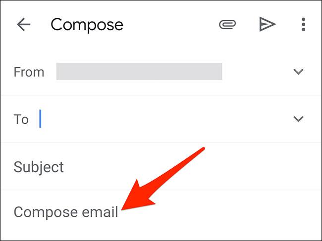 """Nhấn và giữ vào một vị trí trong mục """"Compose Email"""""""