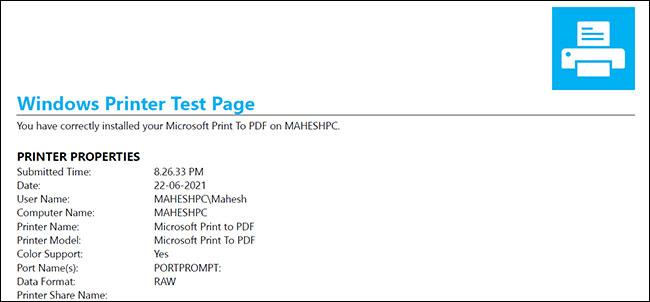 Cách in trang thử nghiệm, test máy in trong Windows 10