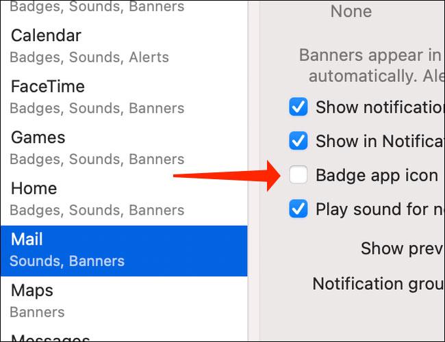 """Bỏ tích tùy chọn """"Badge App Icon"""""""
