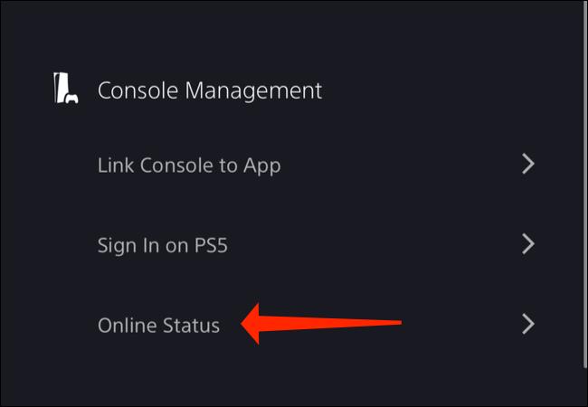 """Nhấp vào mục """"Online Status"""""""