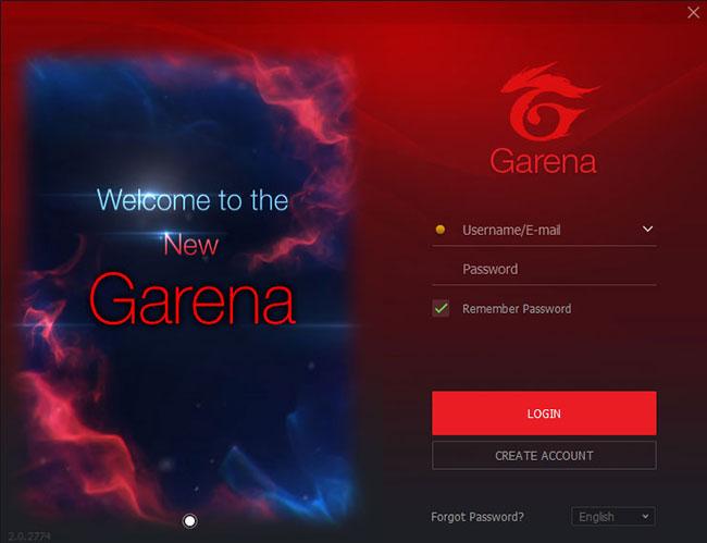 Giao diện đăng nhập ứng dụng Garena