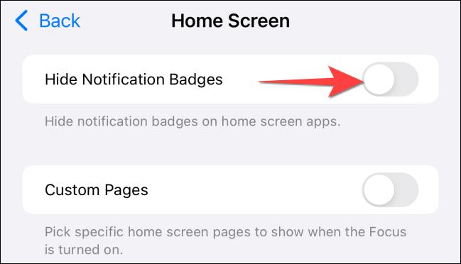 """Nhấn vào công tắc """"Hide Notification Badges"""""""