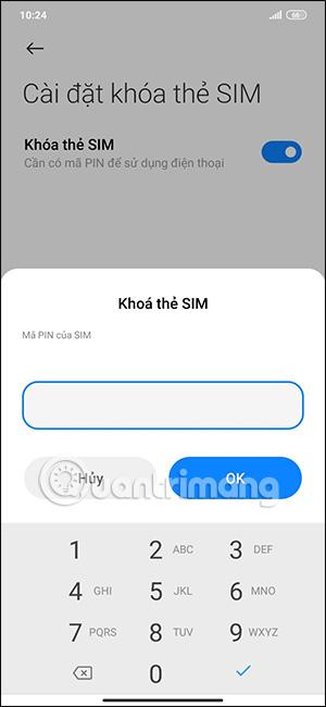 Nhập mã PIN khóa thẻ SIM