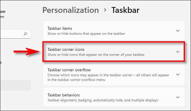 "Mở rộng menu ""Taskbar Corner Icons"""