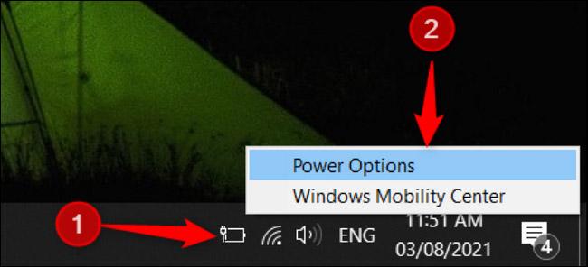 "Chọn ""Power Options"""