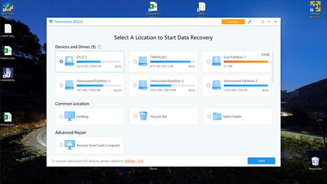 Chọn vị trí để bắt đầu quá trình khôi phục dữ liệu