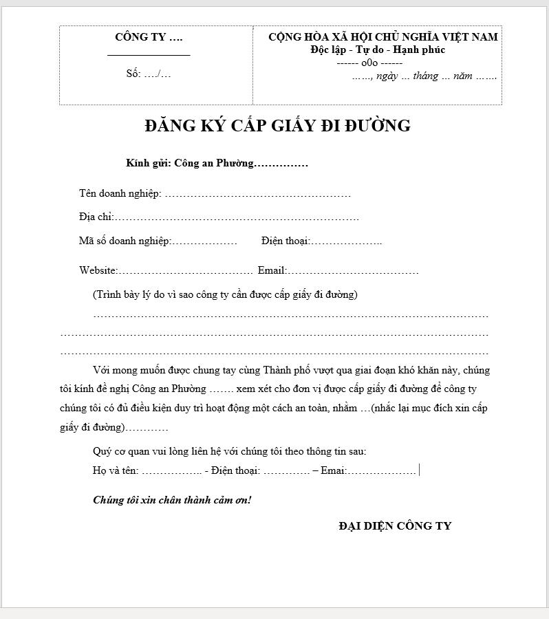 Mẫu đơn đề nghị cấp giấy đi đường