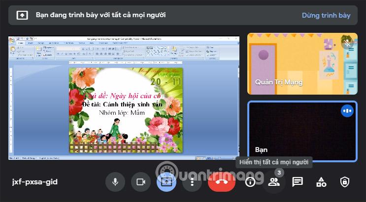 Màn hình PowerPoint Google Meet PC