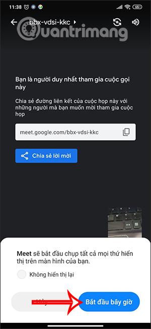 Thông báo chia sẻ màn hình Android