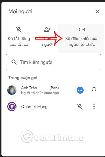 Bộ điều khiển cho người tổ chức Google Meet PC