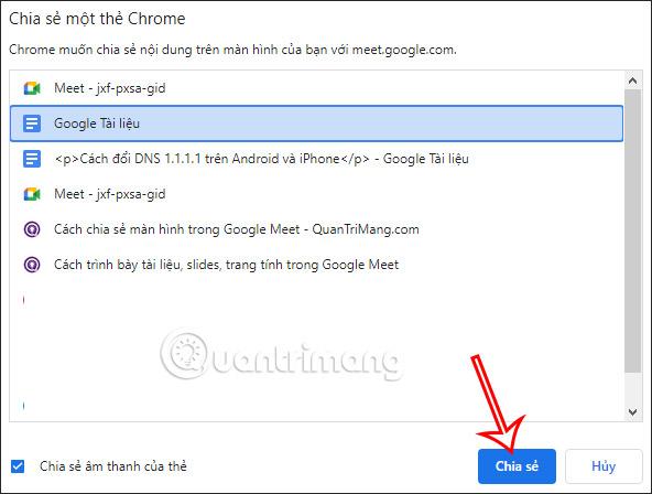 Bật chia sẻ màn hình tài liệu lên Google Meet PC