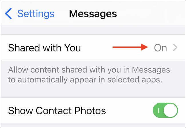 """Nhấn vào phần """"Shared With You"""""""