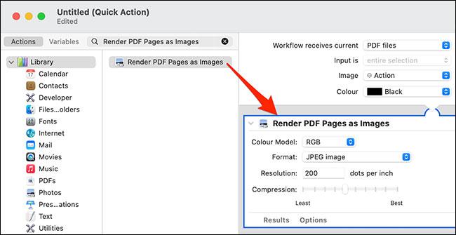 """Kéo mục """"Render PDF Pages as Images"""""""