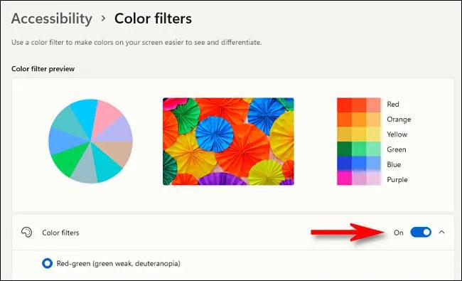 """Bật tùy chọn """"Color Filters"""""""