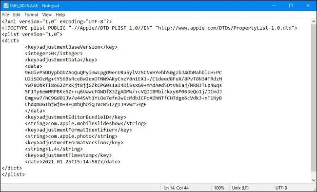 Dữ liệu XML trong tệp AAE
