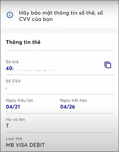 Cách xem số thẻ MBBank trên ứng dụng