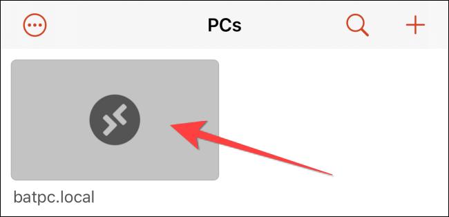 Nhấn vào thẻ có tên PC mà bạn muốn truy cập