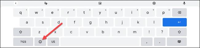"""Nhấn vào nút """"Emoji"""" trên bàn phím ảo"""