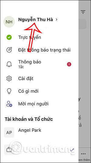 Nhấn vào tên Microsoft Teams điện thoại