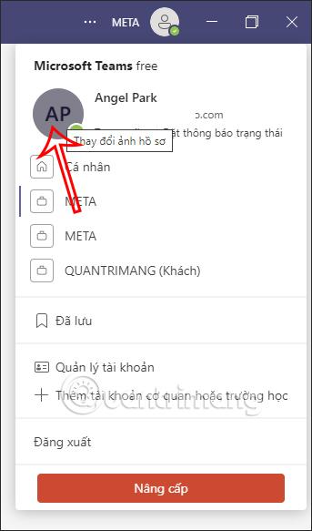 Nhấn ảnh đại diện Microsoft Teams máy tính
