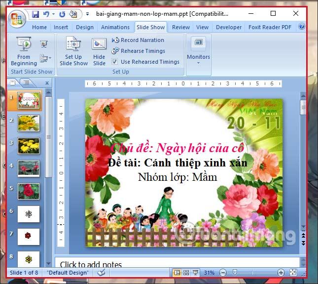 Đóng khung slide PowerPoint
