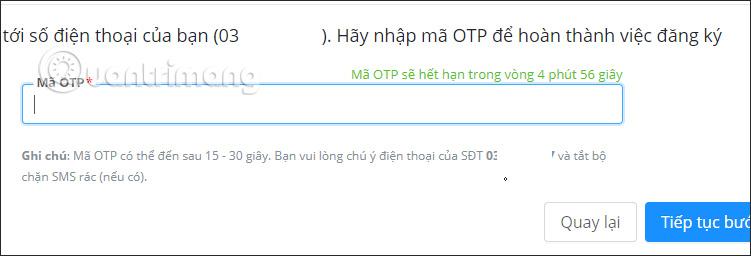 Điền mã OTP gửi về