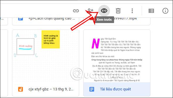 Xem trước nội dung trên Google Drive