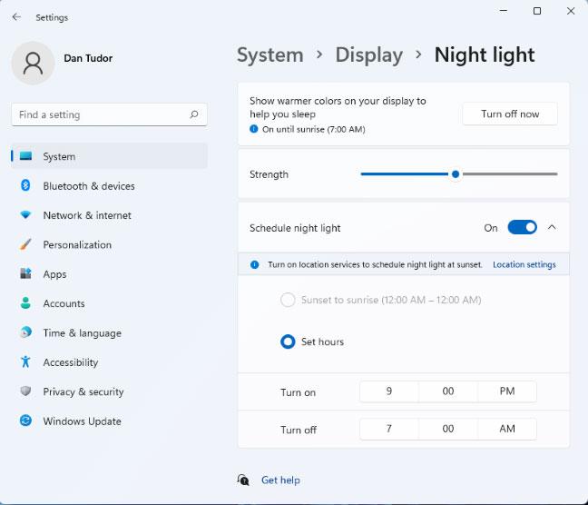 Chỉnh sửa cài đặt Night Light của Windows 11