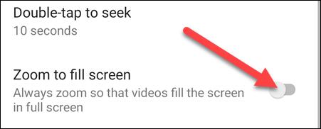 """Bật tùy chọn """"Zoom to Fill Screen"""""""