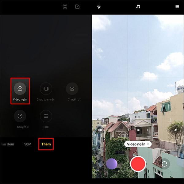 Chế độ quay video ngắn Xiaomi Redmi 10