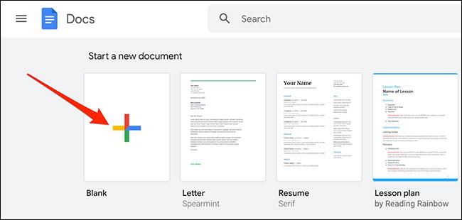 """Tạo một tài liệu bằng cách nhấp vào """"Blank"""""""