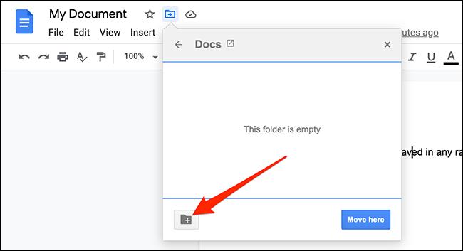 """Nhấp vào tùy chọn """"New Folder"""""""