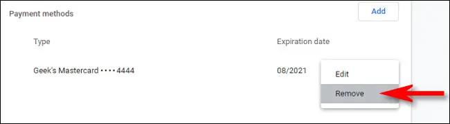 Gỡ thẻ thanh toán trên Chrome