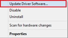 Chọn tùy chọn Update Driver