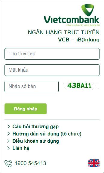 Truy cập VCB iB@nking