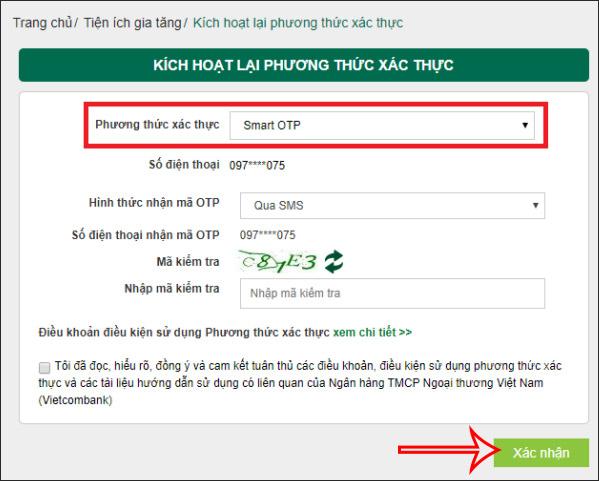 Chọn phương thức Smart OTP Vietcombank