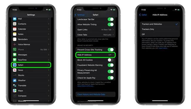Ẩn địa chỉ IP khỏi trình theo dõi trong Safari trên iOS 15