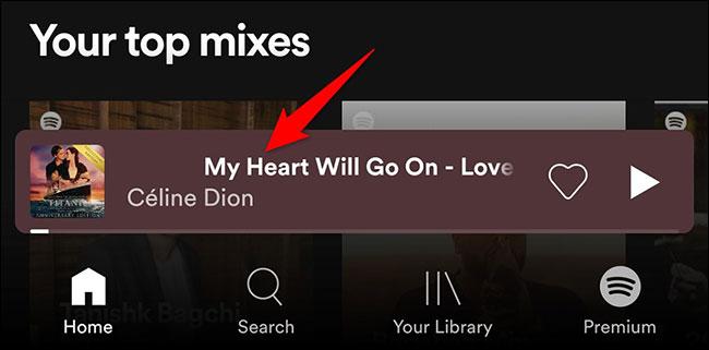 Nhấn vào thanh hiển thị bài hát