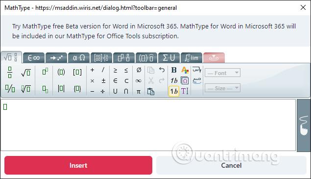 Bảng nhập công thức Toán MathType trong Word