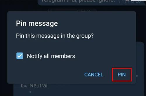 Đồng ý Pin tin nhắn trên Telegram điện thoại
