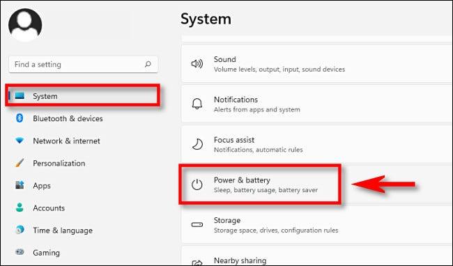 "Chọn ""Power & Battery"""