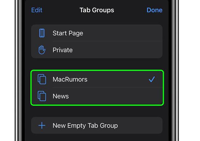 Bạn có thể thêm, chuyển đổi giữa các Tab Group