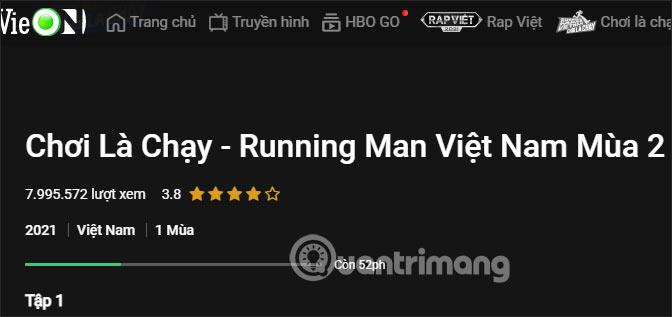Running Man Việt Nam trên VieOn
