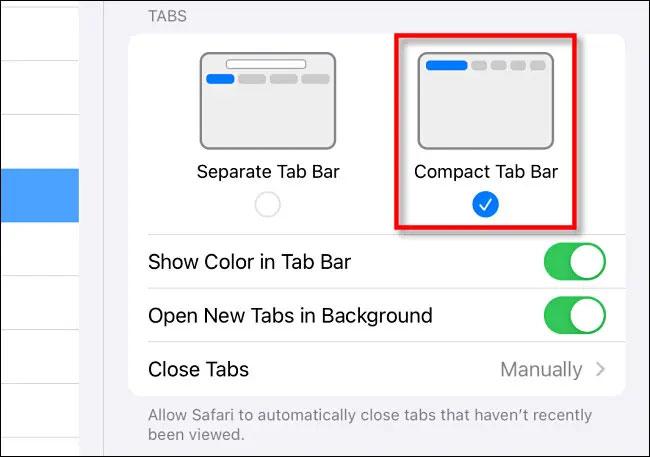 "Bấm chọn ""Compact Tab Bar"""