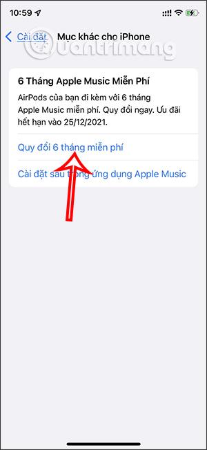 Quy đổi 6 tháng Apple Music miễn phí
