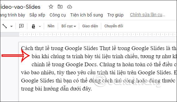 Thụt lề Google Slides bằng phím tắt