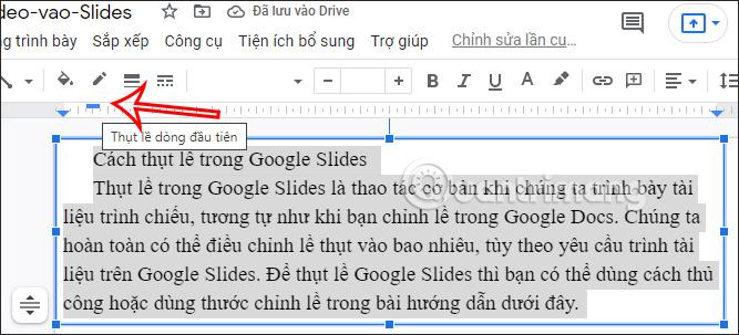 Thụt lề cho dòng đầu tiên Google Slides