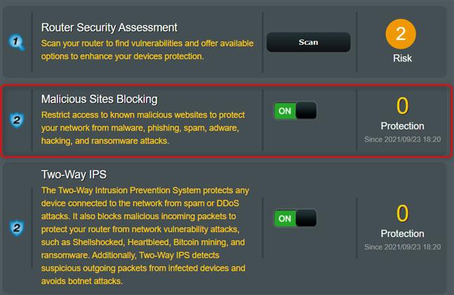 Kích hoạt công tắc Malicious Sites Blocking